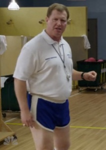 The 'classic' PE teacher look in shorts.