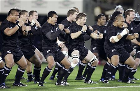 The All Blacks perform the haka in front of Australia during the Bledisloe Cup rugby match in Auckland